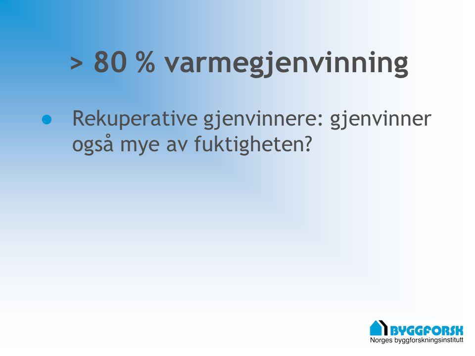> 80 % varmegjenvinning