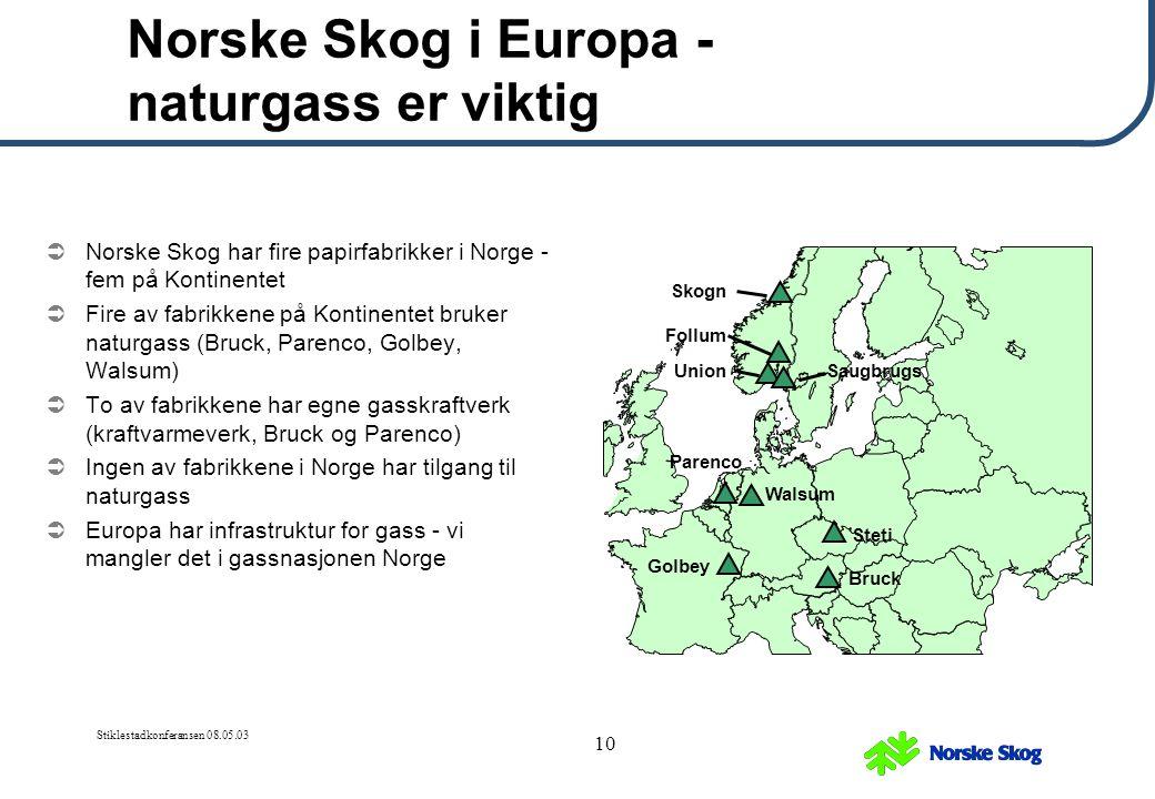 Norske Skog i Europa - naturgass er viktig