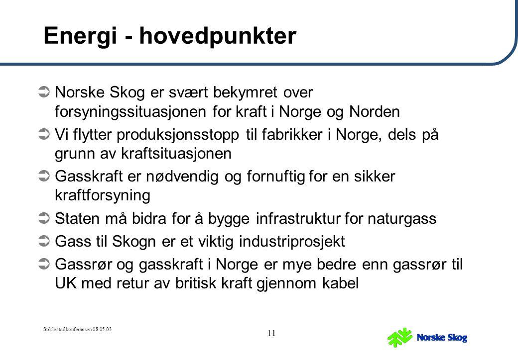 Energi - hovedpunkter Norske Skog er svært bekymret over forsyningssituasjonen for kraft i Norge og Norden.
