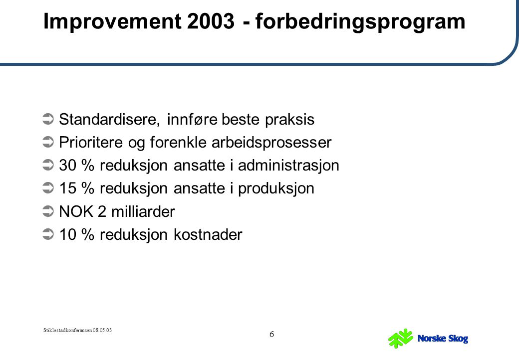 Improvement 2003 - forbedringsprogram