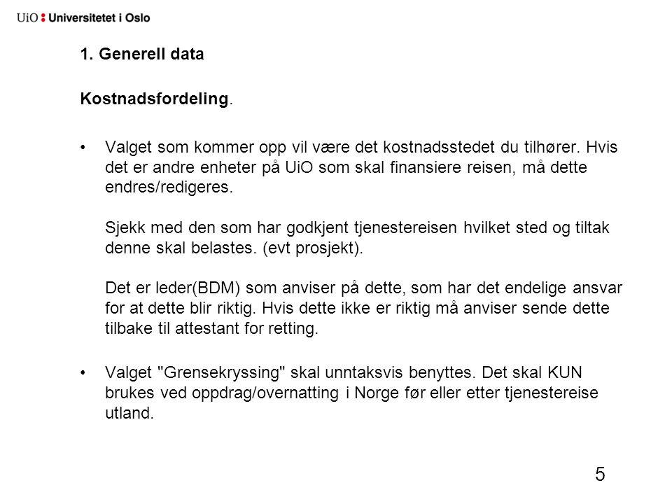 1. Generell data Kostnadsfordeling.