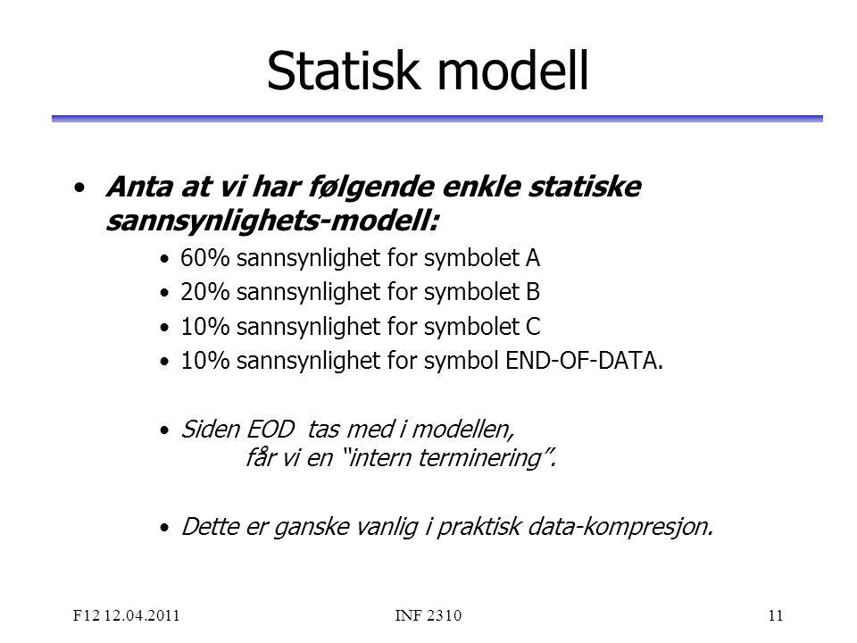 Statisk modell Anta at vi har følgende enkle statiske sannsynlighets-modell: 60% sannsynlighet for symbolet A.
