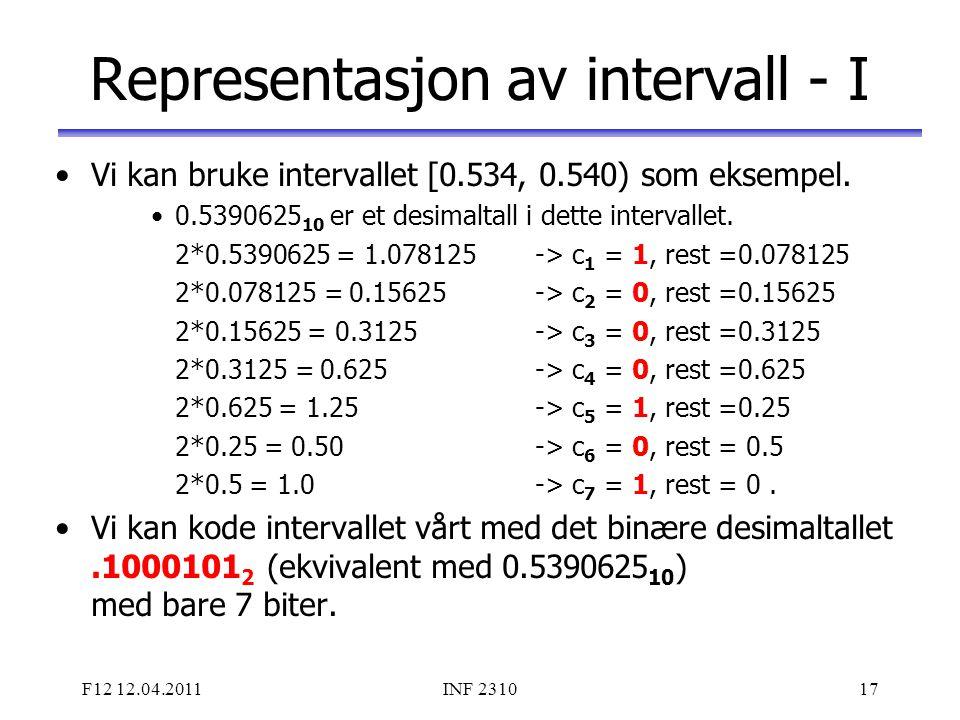 Representasjon av intervall - I