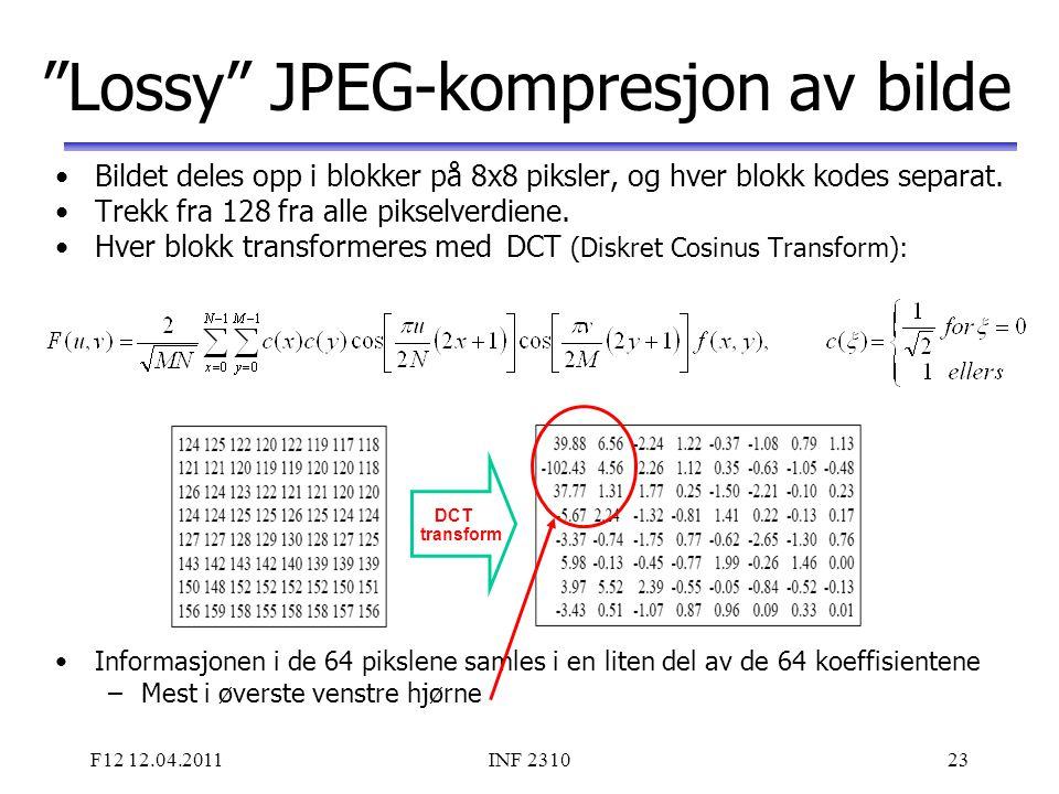 Lossy JPEG-kompresjon av bilde