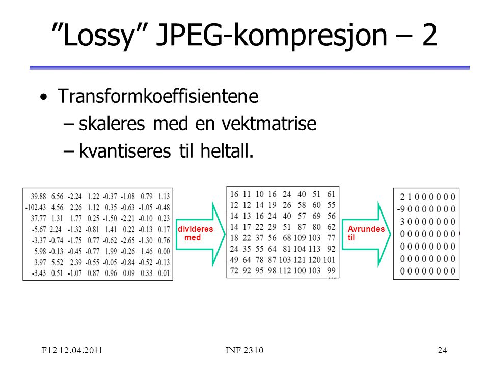 Lossy JPEG-kompresjon – 2