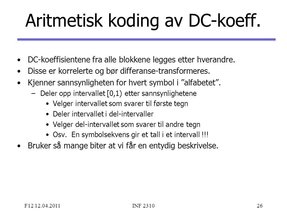 Aritmetisk koding av DC-koeff.
