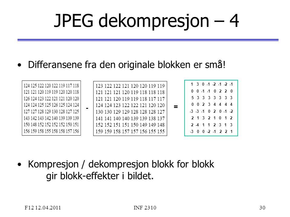 JPEG dekompresjon – 4 Differansene fra den originale blokken er små!