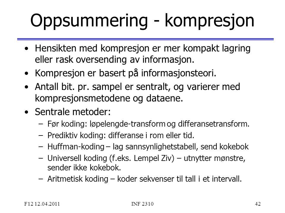 Oppsummering - kompresjon
