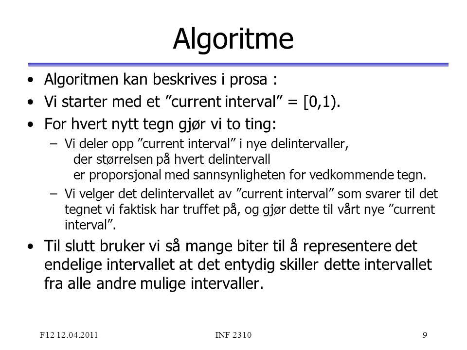 Algoritme Algoritmen kan beskrives i prosa :