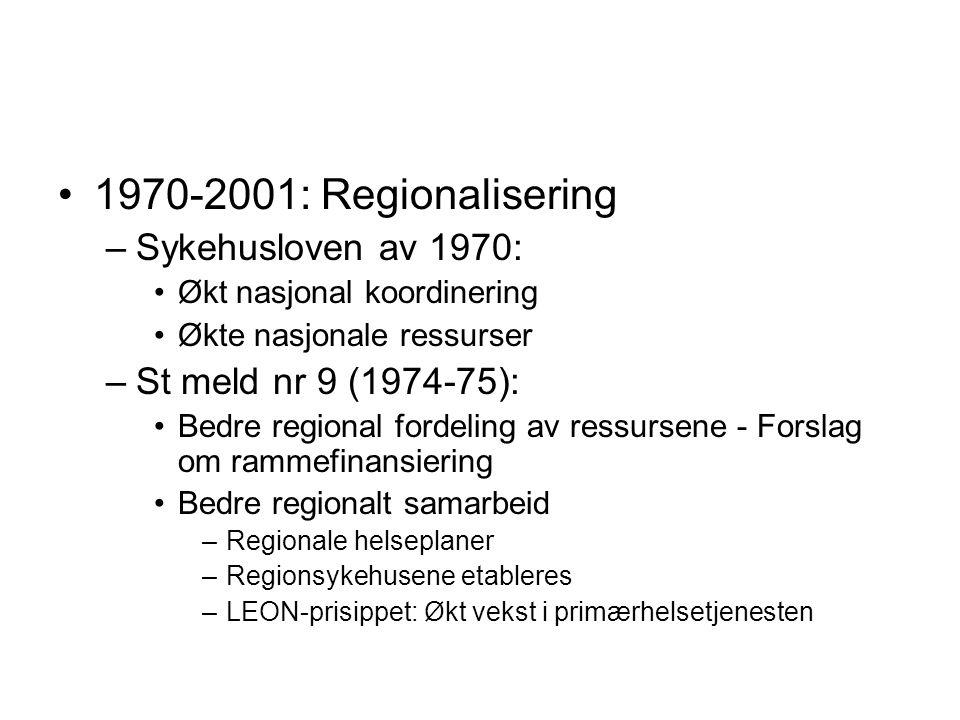 1970-2001: Regionalisering Sykehusloven av 1970: