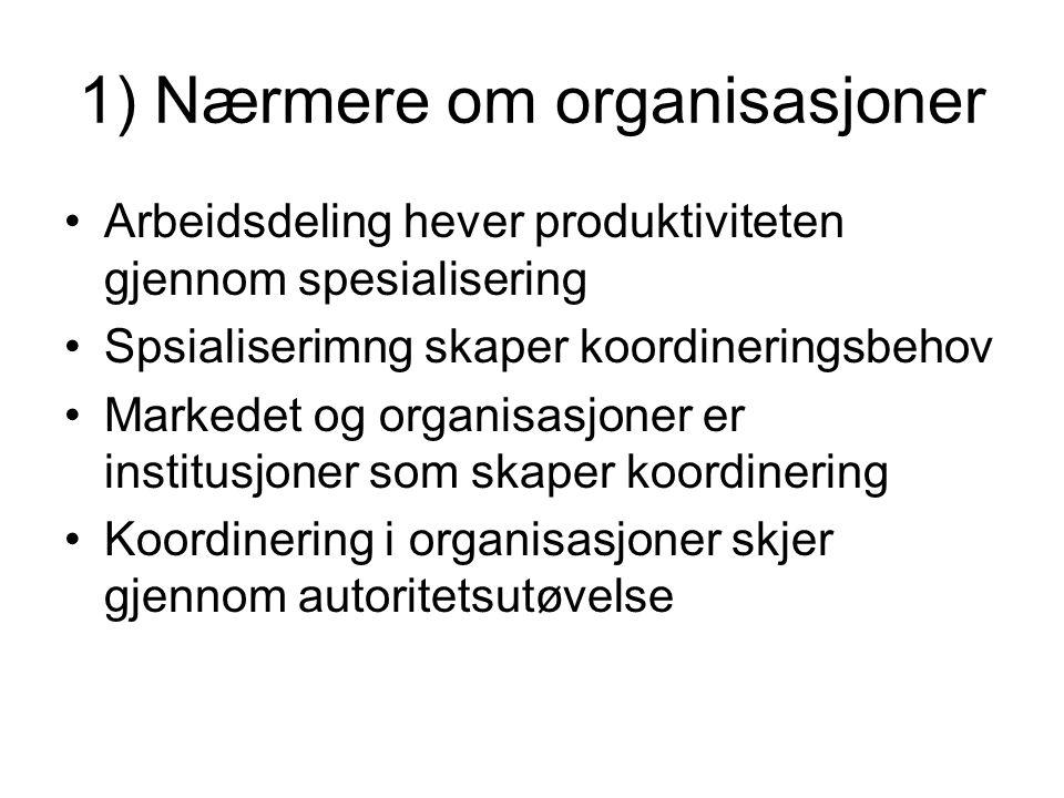 1) Nærmere om organisasjoner
