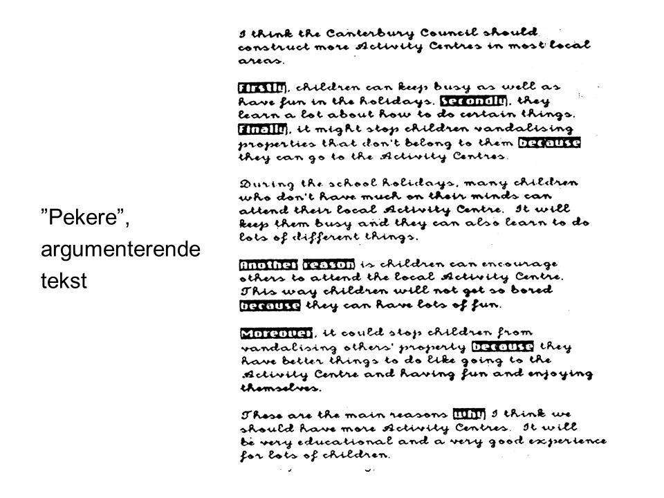 Pekere , argumenterende tekst Frøydis Hertzberg, ILS