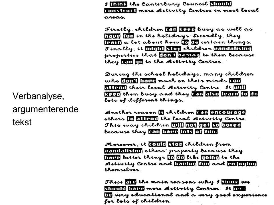 Verbanalyse, argumenterende tekst Frøydis Hertzberg, ILS