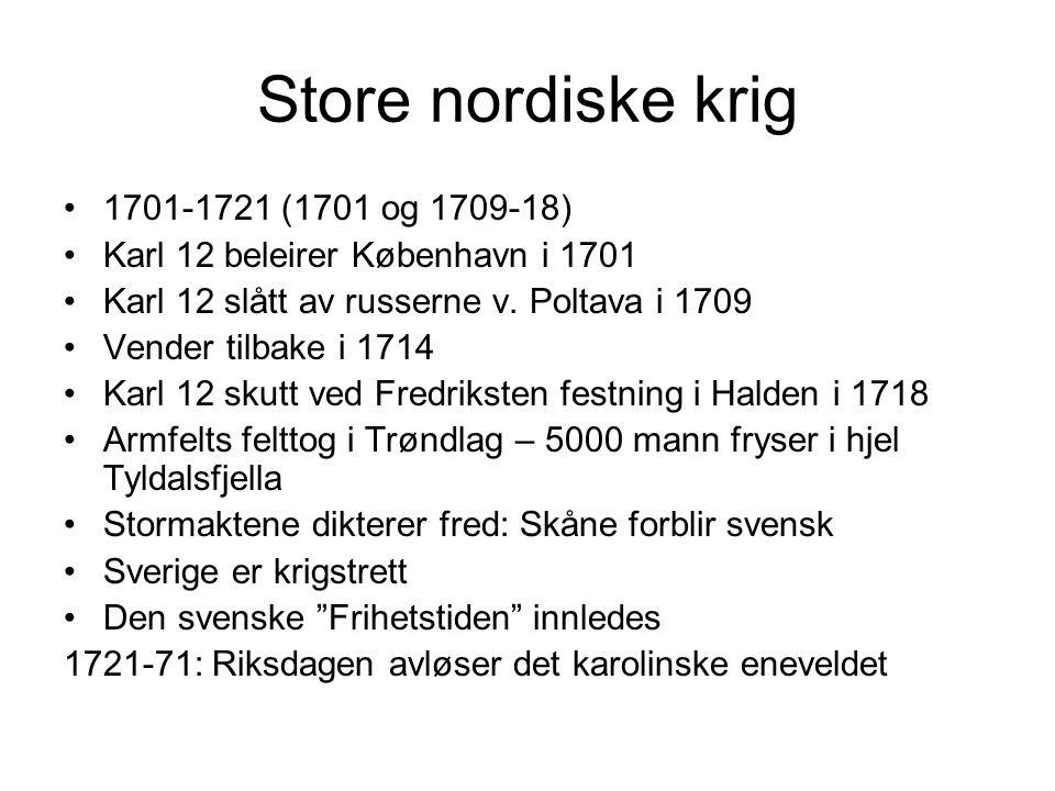 Store nordiske krig 1701-1721 (1701 og 1709-18)