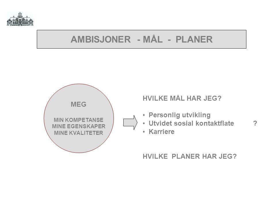 AMBISJONER - MÅL - PLANER MINE EGENSKAPER MINE KVALITETER