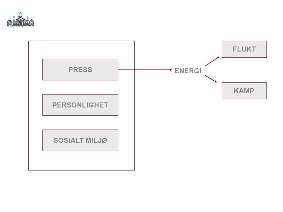 FLUKT PRESS ENERGI KAMP PERSONLIGHET SOSIALT MILJØ