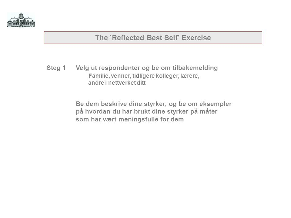 The 'Reflected Best Self' Exercise