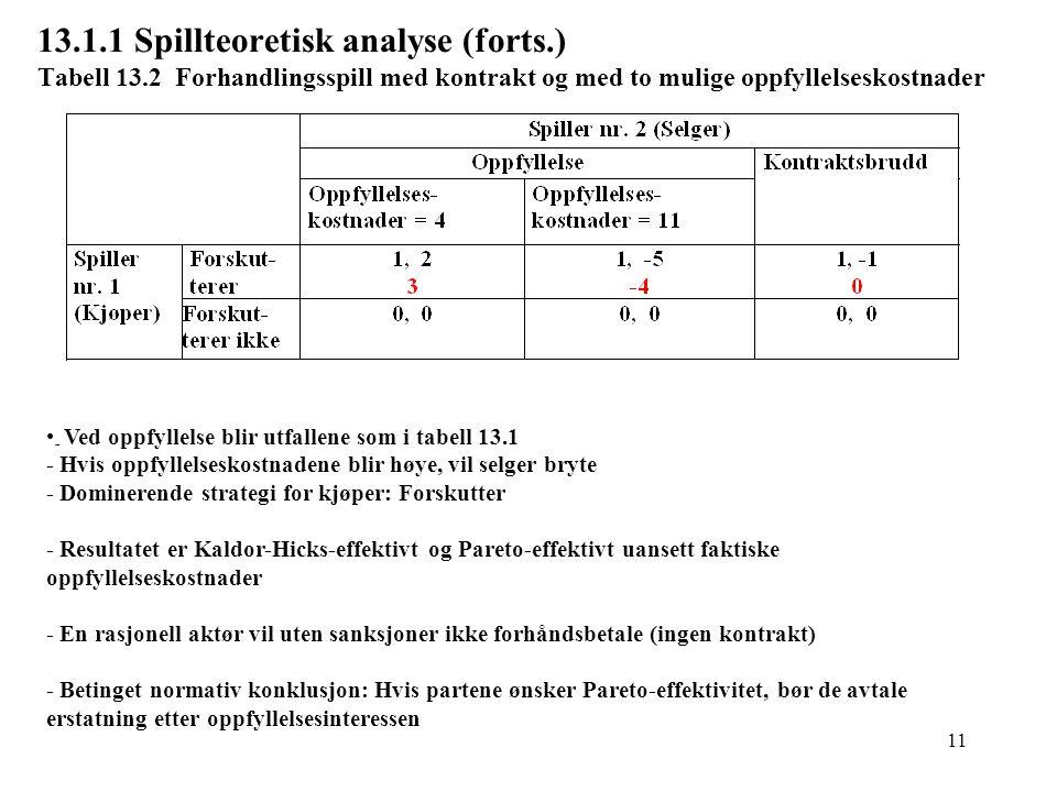 13. 1. 1 Spillteoretisk analyse (forts. ) Tabell 13