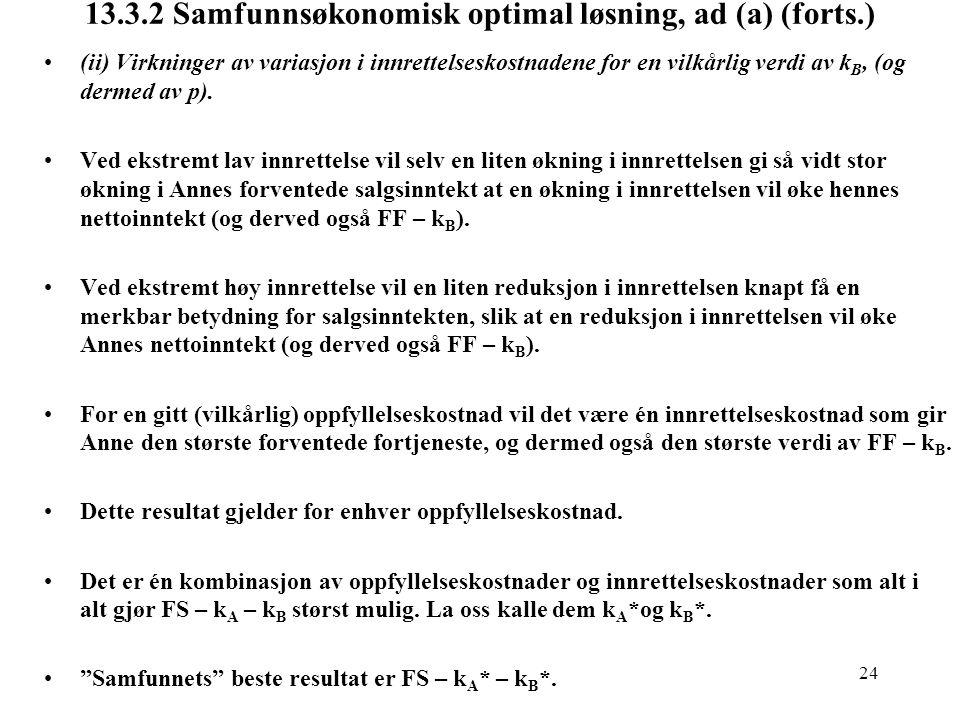 13.3.2 Samfunnsøkonomisk optimal løsning, ad (a) (forts.)