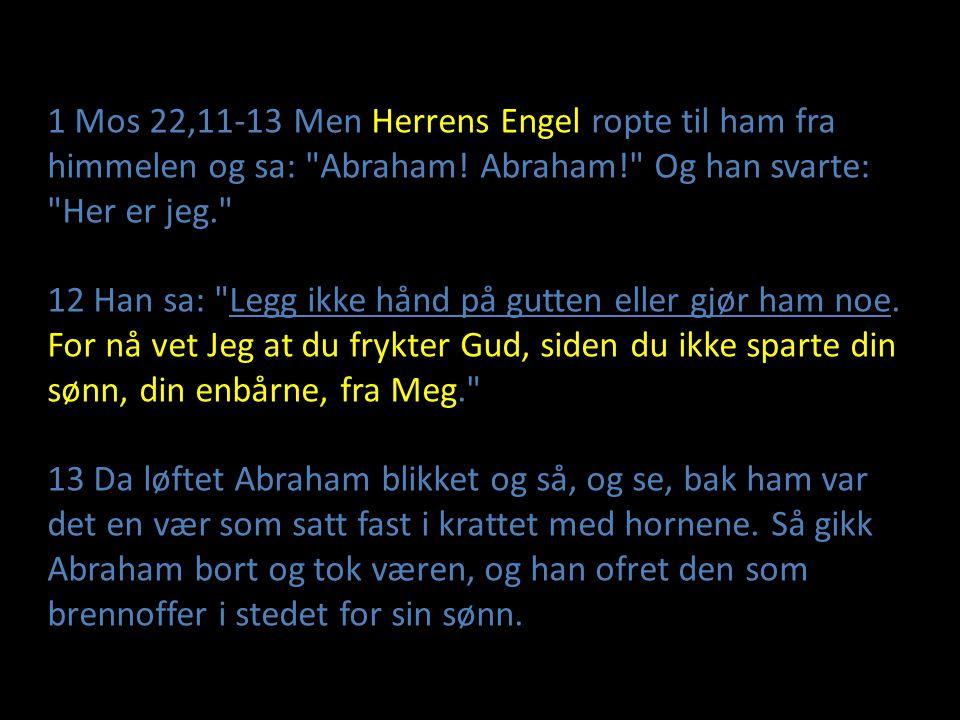 1 Mos 22,11-13 Men Herrens Engel ropte til ham fra himmelen og sa: Abraham! Abraham! Og han svarte: Her er jeg.