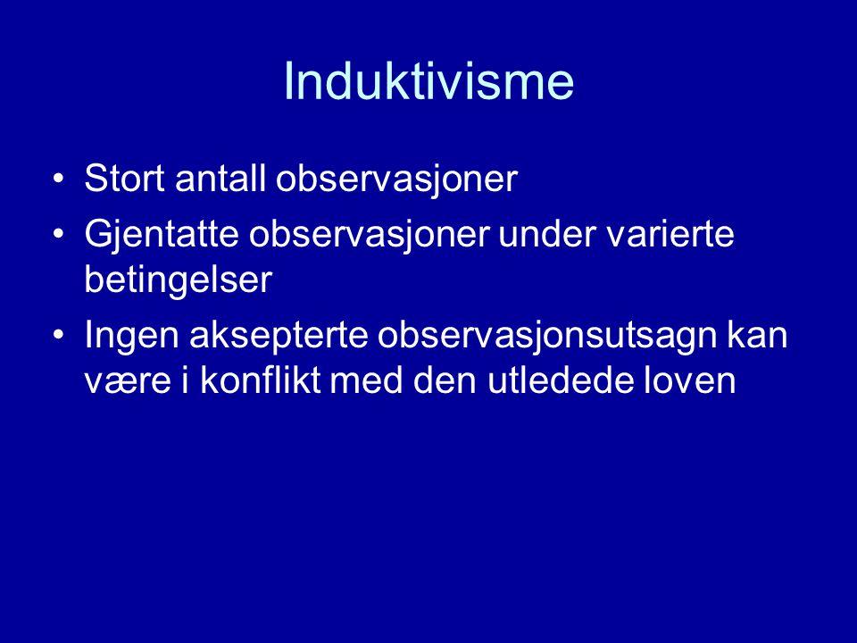 Induktivisme Stort antall observasjoner