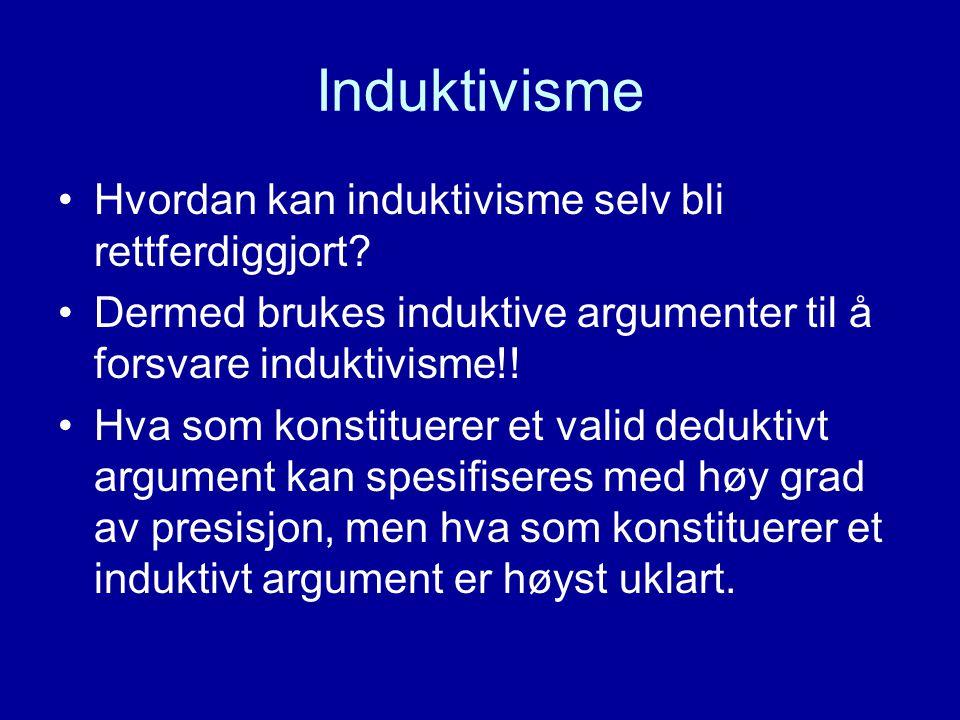Induktivisme Hvordan kan induktivisme selv bli rettferdiggjort