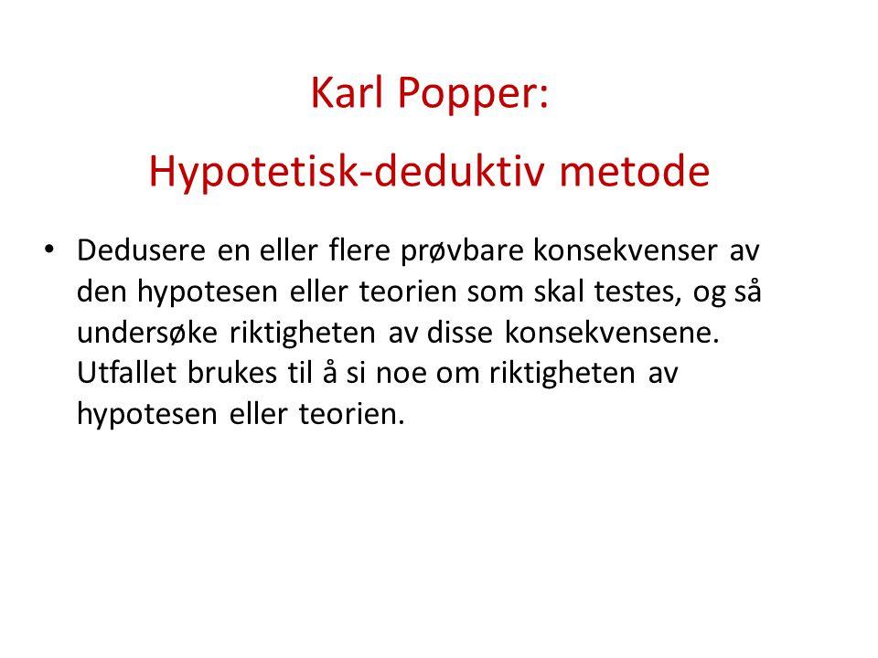 Karl Popper: Hypotetisk-deduktiv metode
