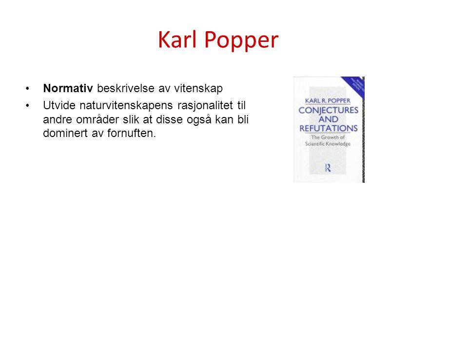 Karl Popper Normativ beskrivelse av vitenskap