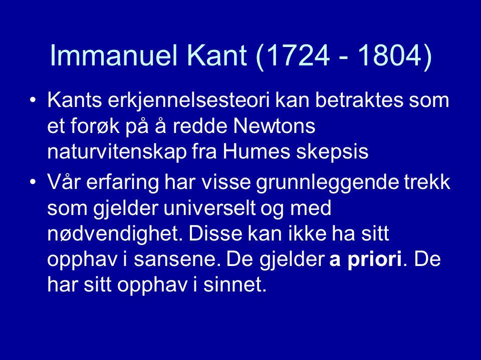 Immanuel Kant (1724 - 1804) Kants erkjennelsesteori kan betraktes som et forøk på å redde Newtons naturvitenskap fra Humes skepsis.
