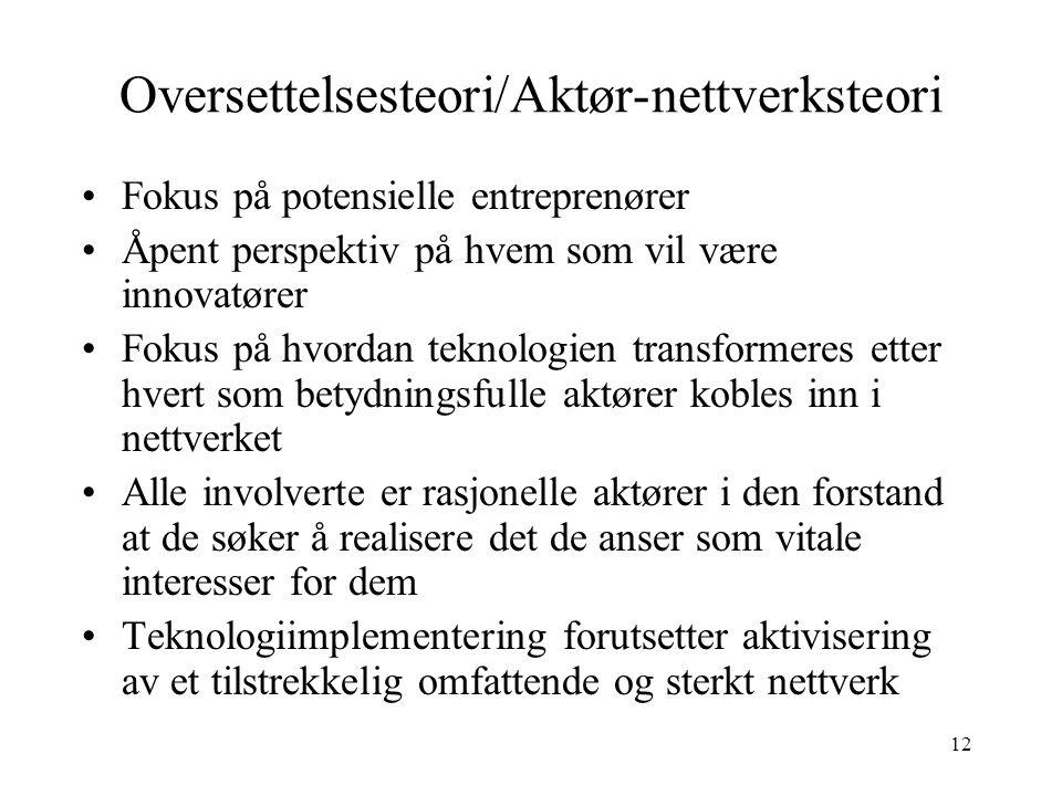 Oversettelsesteori/Aktør-nettverksteori