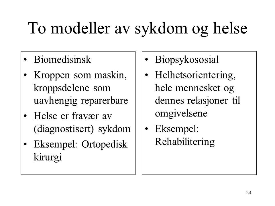 To modeller av sykdom og helse