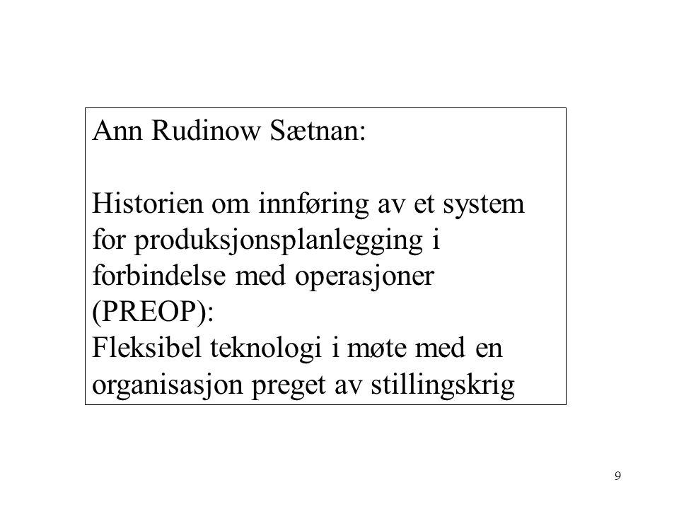 Ann Rudinow Sætnan: Historien om innføring av et system for produksjonsplanlegging i forbindelse med operasjoner (PREOP):