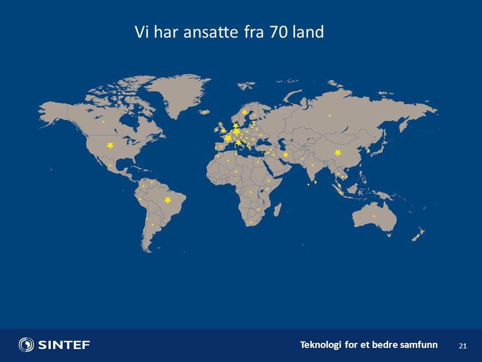 Vi har ansatte fra 70 land Vi har 404 ansatte (22%) fra 70 land utenom Norge. De største i 2014: Tyskland 50.