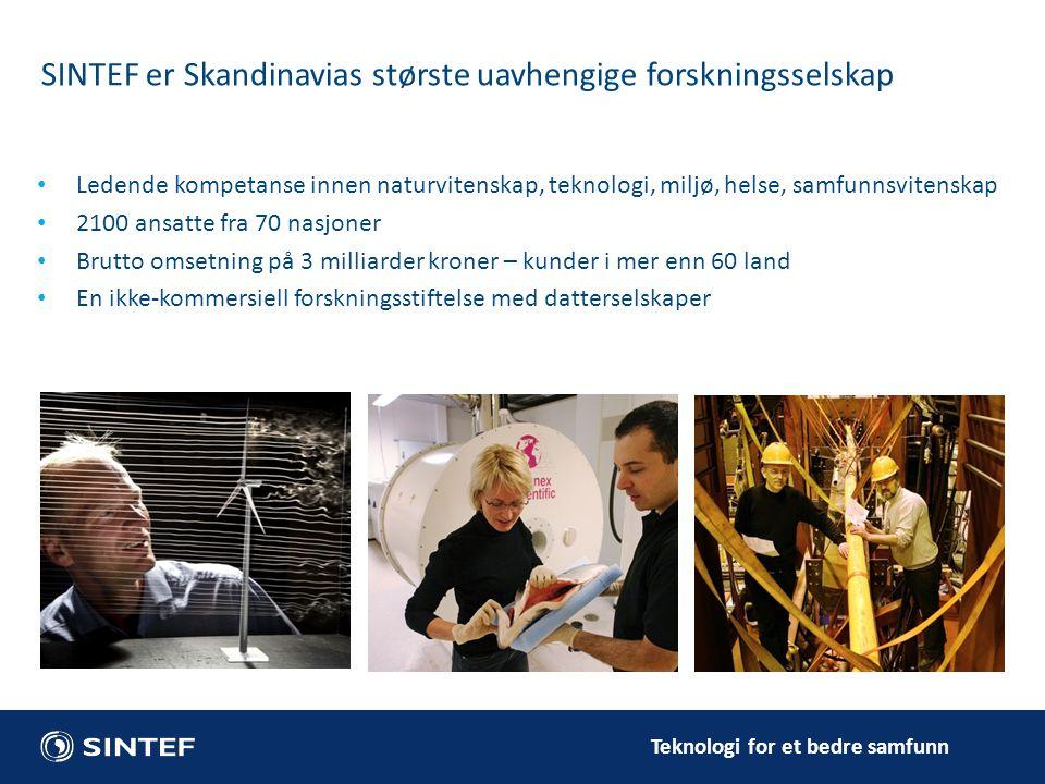SINTEF er Skandinavias største uavhengige forskningsselskap