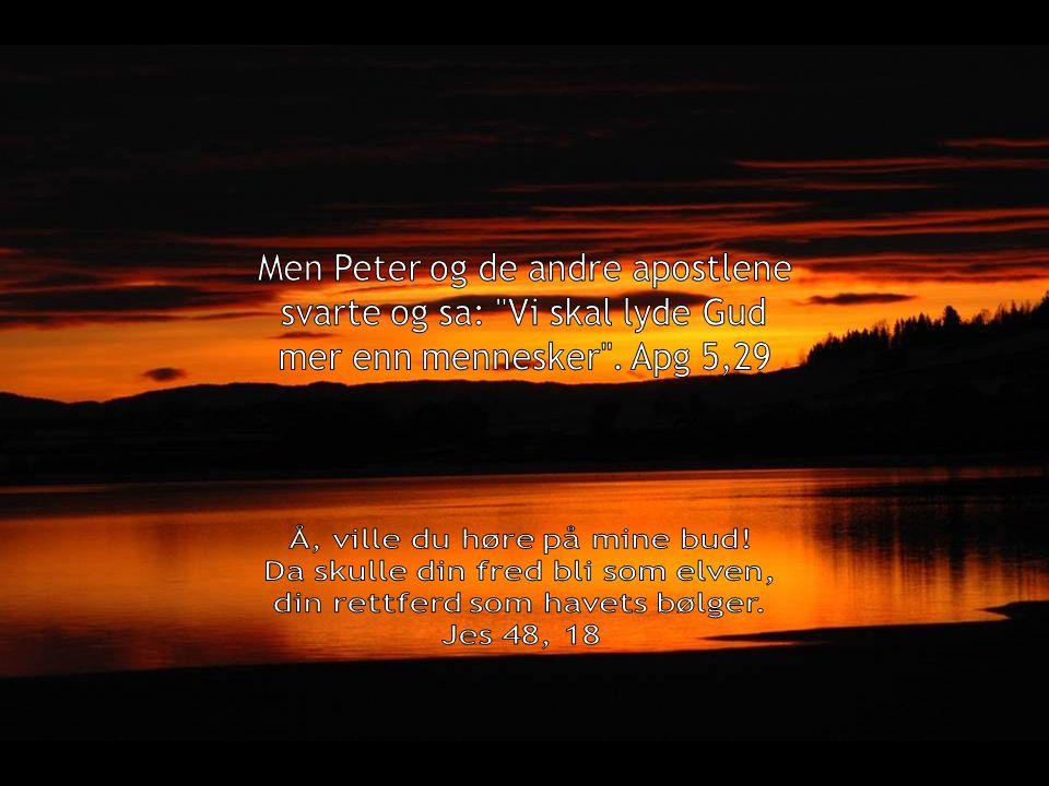 Men Peter og de andre apostlene svarte og sa: Vi skal lyde Gud