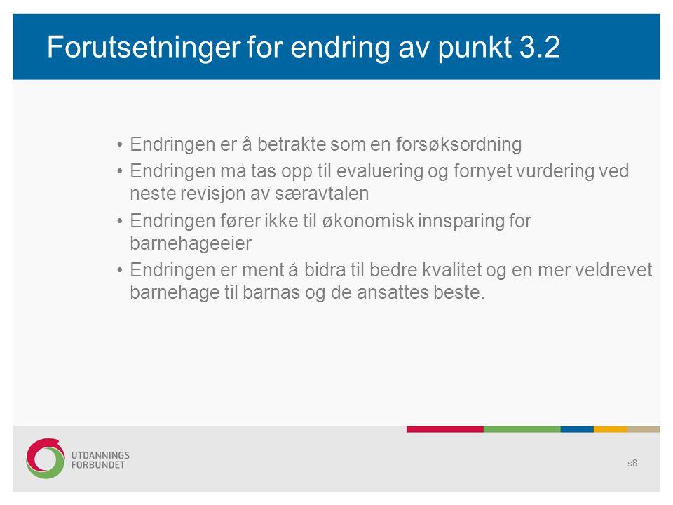 Forutsetninger for endring av punkt 3.2