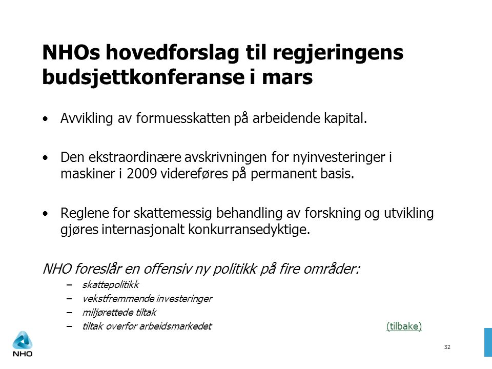 NHOs hovedforslag til regjeringens budsjettkonferanse i mars