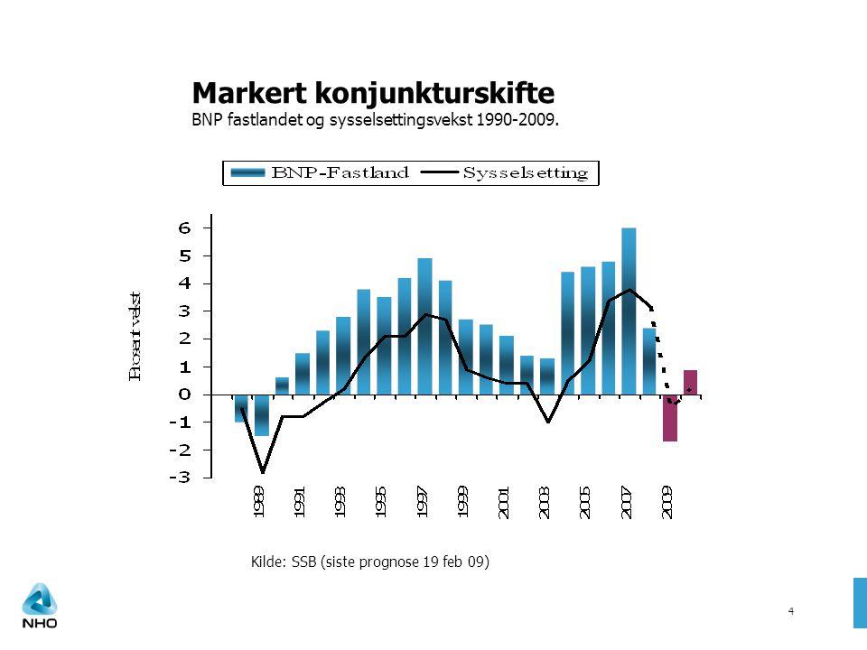 Markert konjunkturskifte BNP fastlandet og sysselsettingsvekst 1990-2009.