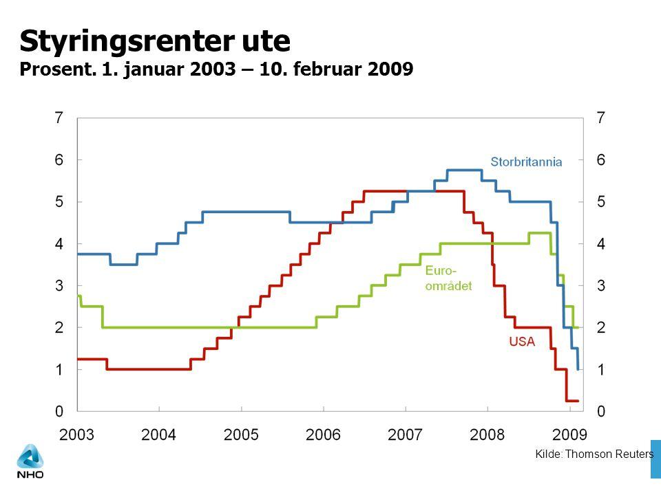Styringsrenter ute Prosent. 1. januar 2003 – 10. februar 2009