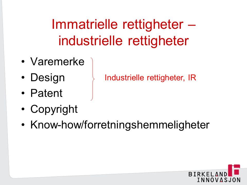 Immatrielle rettigheter – industrielle rettigheter