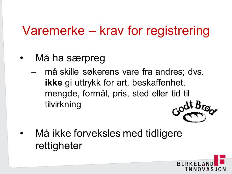 Varemerke – krav for registrering