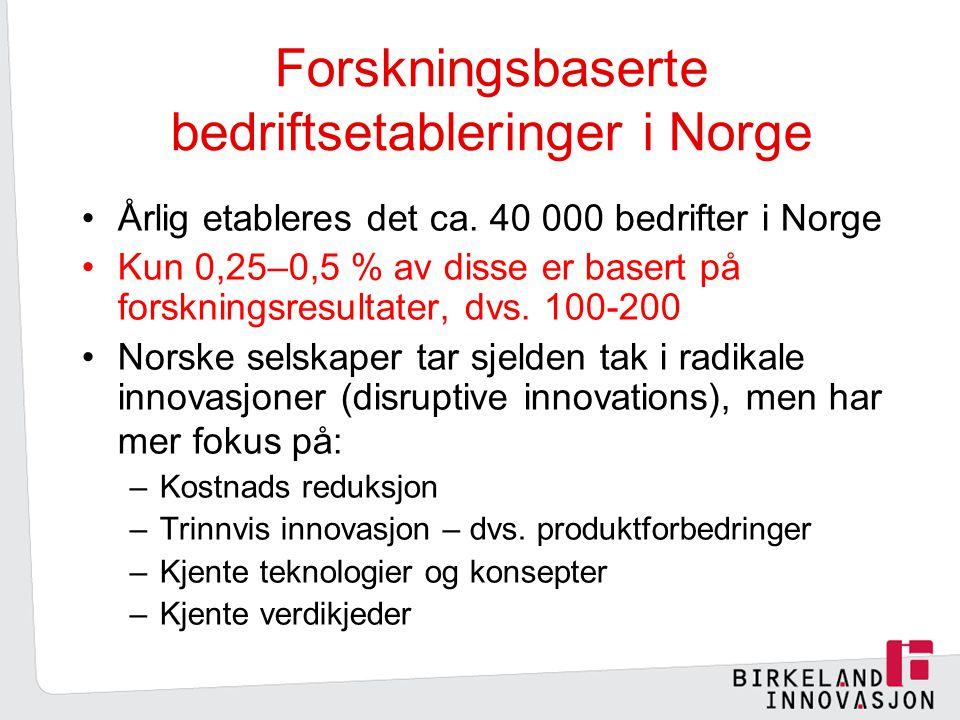 Forskningsbaserte bedriftsetableringer i Norge