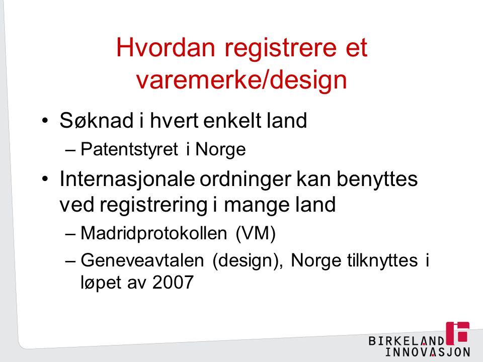 Hvordan registrere et varemerke/design