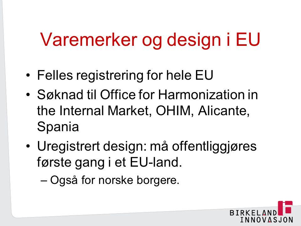 Varemerker og design i EU