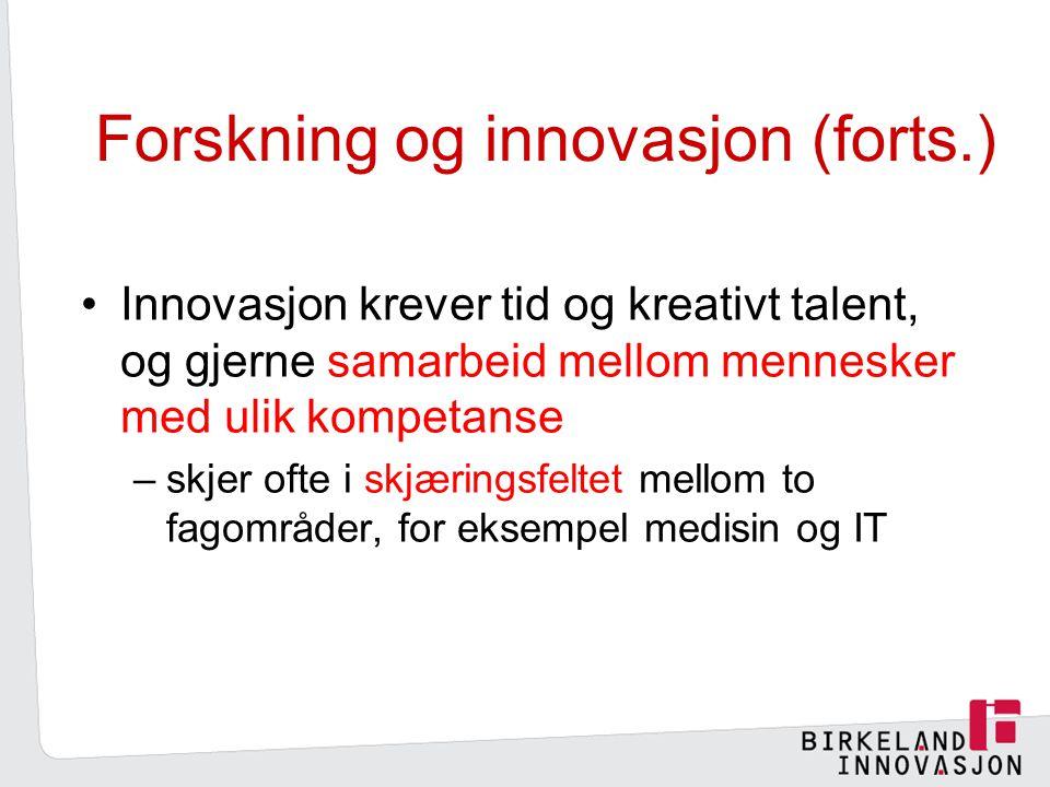 Forskning og innovasjon (forts.)