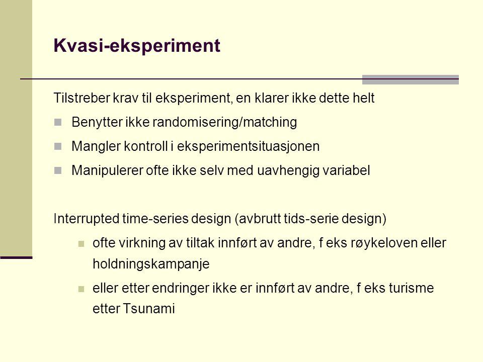 Kvasi-eksperiment Tilstreber krav til eksperiment, en klarer ikke dette helt. Benytter ikke randomisering/matching.
