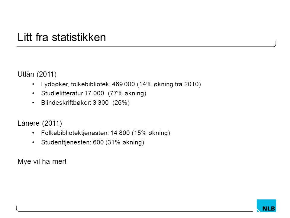 Litt fra statistikken Utlån (2011) Lånere (2011) Mye vil ha mer!