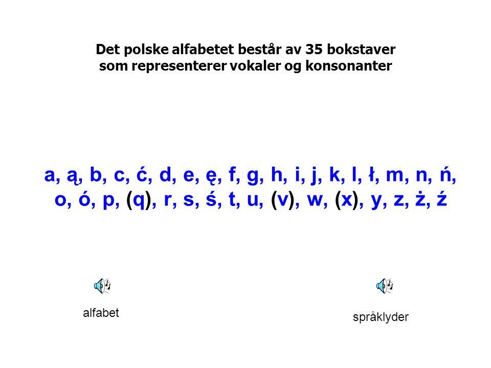 Det polske alfabetet består av 35 bokstaver som representerer vokaler og konsonanter