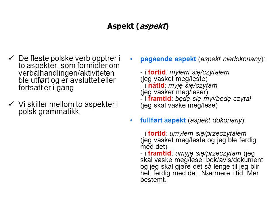 Vi skiller mellom to aspekter i polsk grammatikk: