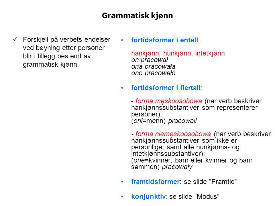 Grammatisk kjønn Forskjell på verbets endelser ved bøyning etter personer blir i tillegg bestemt av grammatisk kjønn.